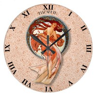 Vintage Retro Floral Art Nouveau Dancing Girl Large Clock