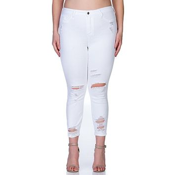 Curvy/Plus White Mid-rise Destroyed Skinny Jean