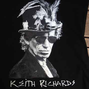 Keith Richards Voodoo Hat T-shirt Electric Guitarist T shirt Painted