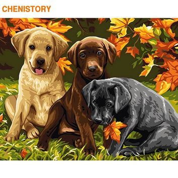 CHENISTORY Frameless Dogs Animals DIY Painting By Numbers Modern Wall Art Picture Calligraphy Painting For Home Decor 40x50cm