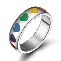 316L stainless steel rainbow hearts ring wedding party gay pride lgbt jewelry