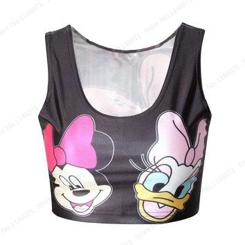 Running Vests Jogging Lovely Minnie Mouse Cropped Tank Tops Sleeveless Pink Crop Top Ladies Daisy Duck  Sports Tube Top Cartoon Gym Camis KO_11_1