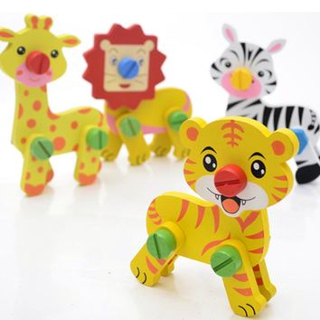 Kids Wooden Nut Cartoon Animals Pairing Toys