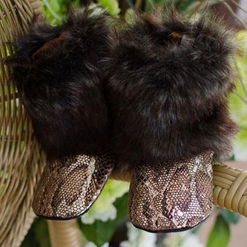 Baby Boots, Toddler Boots, Faux Mink Fur and Copper Snake Skin Boots