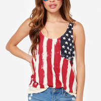 Cream American Flag Printed Sleeveless Chiffon Shirt
