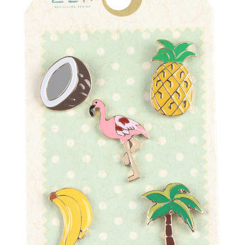 Tropical Pineapple Palm Tree Pin Brooch Set