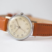 Retro watch Youth women's watch minimalist watch rare silver caramel shades watch leather strap new