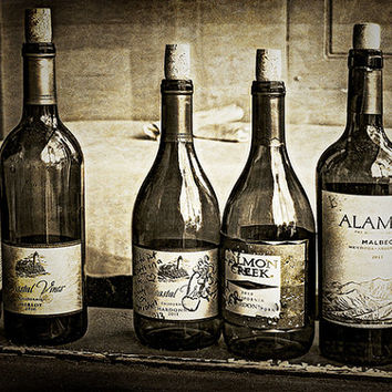 """Wine Bottles,still life photography """"CHEERS MY LOVE""""  Sepia dark to light brown dramatic, restaurant gift for wine lover under 20"""