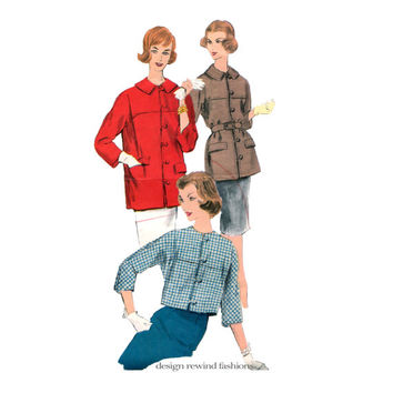 1950s VOGUE 9914 JACKET PATTERN Rockabilly Button, Loop Closure Kimono Back Jacket Collarless or with Collar Bust 31 Womens Sewing Patterns