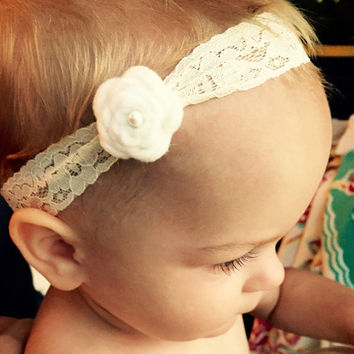 Felt Flower Headband, Baby Headband, Cream Flower Headband, Felt Flowers, Lace Flower Headband, Lace Headband