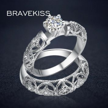 BRAVEKISS vintage crystal bridal ring set for women filigree wedding band carved ring sets double rings bijoux 2017 BUR0130