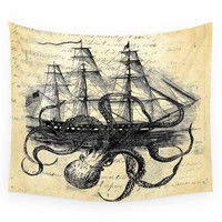 Society6 Kraken Octopus Attacking Ship Multi Coll Wall Tapestry