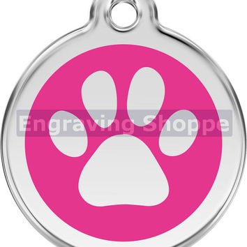 Hot Pink Paw Print Enamel and Stainless Steel Personalized Custom Pet Tag LIFETIME GUARANTEE ID Tag Dog Tags and Cat Tags Free Engraving