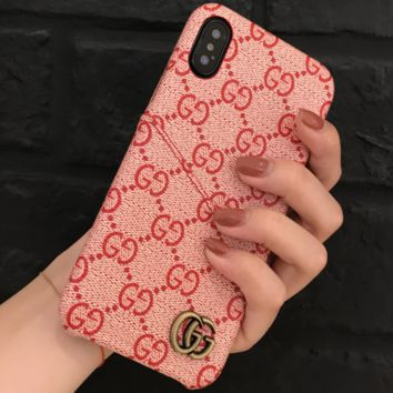 GUCCI Tide brand card holder couple models iPhone7plus leather protective cover F0940-1 pink