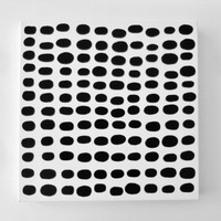 PEBBLES - 20 x 20 inch Gallery Canvas | Large Modern Painting | Acrylic Painting on Canvas | Black and White Polka Dot Painting -LYNDA BLACK