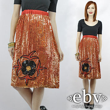 Vintage 70s Sequin Skirt XS S M L Sequin Knee Length Skirt Disco Skirt