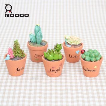 Roogo 3Pcs/Set Mini Artificial Plant Decor Decorative Potted Plant for Study Living Room Home Office Random Delivery