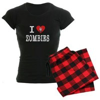 I Love Zombies Women's Dark Pajamas by Alienwear Apparel