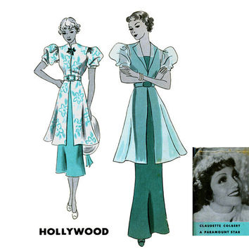 1930s Evening Dress Pattern Hollywood 1160 Claudette Colbert Bust 36 Womens Vintage Mail Order Sewing Pattern Art Deco Gown & Evening Jacket
