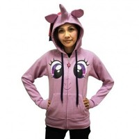 My Little Pony Twilight Sparkle Face Juniors Lilac Costume Hoodie with Mane & Horn - My Little Pony - | TV Store Online