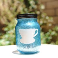 Tinted Glitter Mason Jar- Disney Character Alice in Wonderland Inspired