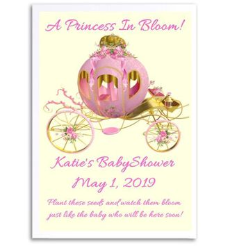 8 Princess Baby Shower Seed Favors Carriage