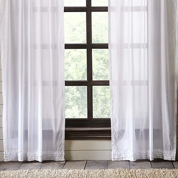 White Ruffled Sheer Panel Curtains