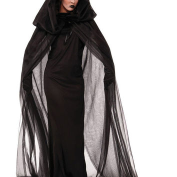 TITIVATE Gothic Witch Halloween Costume Fancy Dress Witch Adult Sorceress Costume Wicked Cosplay