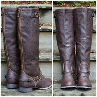 SZ 5.5 Montana Maple Brown Contrast Zipper Boots