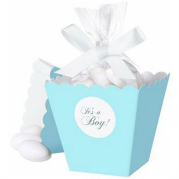 Blue It's a Boy Popcorn Box Favor Kit, 25 Count, Kit de Recuerdo, Trouse pour Cotillons.