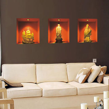 3 d simulation of Buddha Wall of setting of the sitting room the bedroom adornment wall stickers SM6