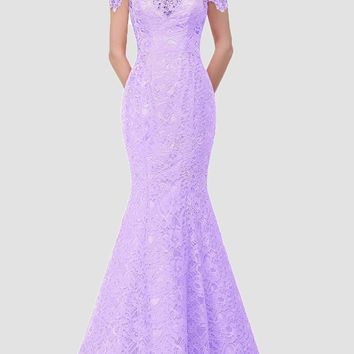 New Purple Patchwork Drawstring Lace Off Shoulder Backless Mermaid Bodycon Elegant Maxi Dress