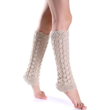 Fashion Women Winter Long Knee High Hollow Out Leg Warmers Thigh Knitted Boot Socks Elastic New Soft Solid Girl Lady Warmer