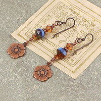Handmade Copper Flower Earrings Wirewrapped With Blue and Topaz Czech Glass and Swarovski Crystals, Niobium Earwires