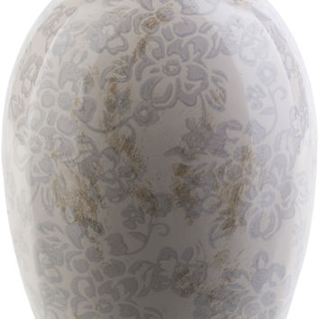 Leclair Cottage/Country Table Vase Ivory, Light Gray, Gray, Chocolate