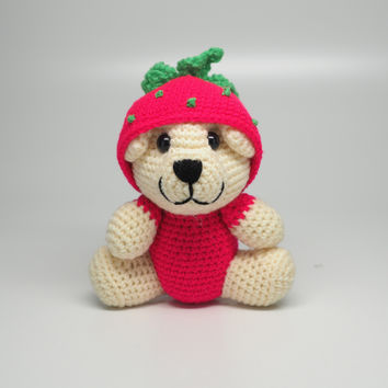 Strawbeary Crochet Teddy Bear