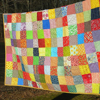 Free US shipping--Patchwork Quilt, Ready-to-Ship--picnic Size--81X81--Classic Americana cotton blanket, retro, vintage