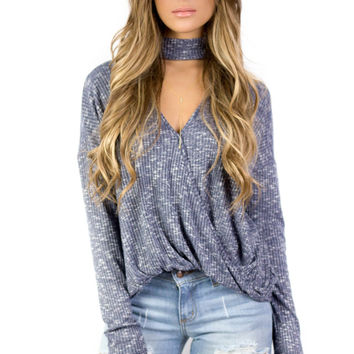 Deja Vu Blue Long Sleeve Choker Top with Surplice Detail
