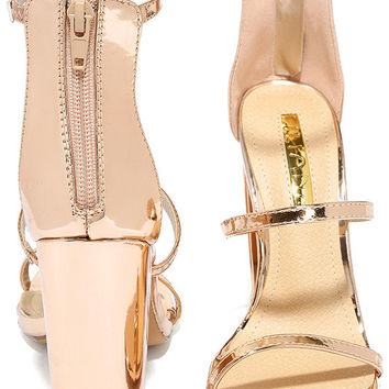 Fifi Mirror Rose Gold Ankle Strap Heels