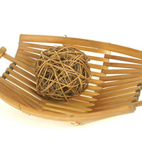 Mid Century Modern Bamboo Baskets - Set of 2