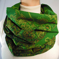 Green Infinity Scarf, Stylized Floral Motif, Forest Green, Gold Accents, Spring Scarf, Womens Scarf, Oversize Scarf, Extra Long, Valentines