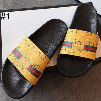 GUCCI casual fashion wild couple slippers colorful slippers F0339-1 #1