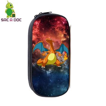 Charizard Galaxy Space Cosmetic Cases Large Capacity Pencil Holder Kids Boys Girls Stationery Storage Bags Makeup BagKawaii Pokemon go  AT_89_9