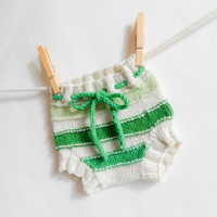 Wool Soaker Cloth Diaper Cover Organic Merino Wool Cream and Green Stripes Cloth Nappy Cover Hand Knit Newborn Small