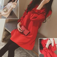 2017 red Maternity dresses tops clothing spring and summer loose cotton Maternity Bow Three Quarter sleeves Dresses for Pregnant