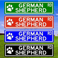 GERMAN SHEPHERD Street SIGN Gift German Shepherd Decor Custom Street Sign Quality Metal Sign Aluminum Sign Personalized Dog Sign Paw Prints