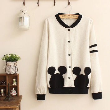 Block Mickey Mouse Button Jacket