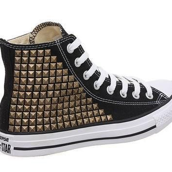 studded converse converse high top with brass pyramid studs by customduo on etsy