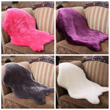 Sheepskin Rug Soft Hairy Carpet Chair Cover Seat Pad Plain Skin Fur Plain Fluffy Area Rugs Washable Bedroom Faux Mat
