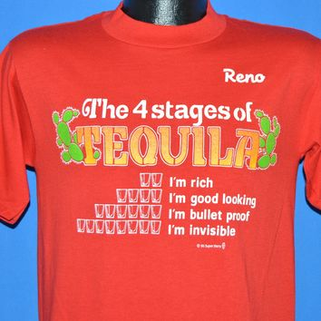80s Reno 4 Stages Of Tequila Shot Glasses t-shirt Small